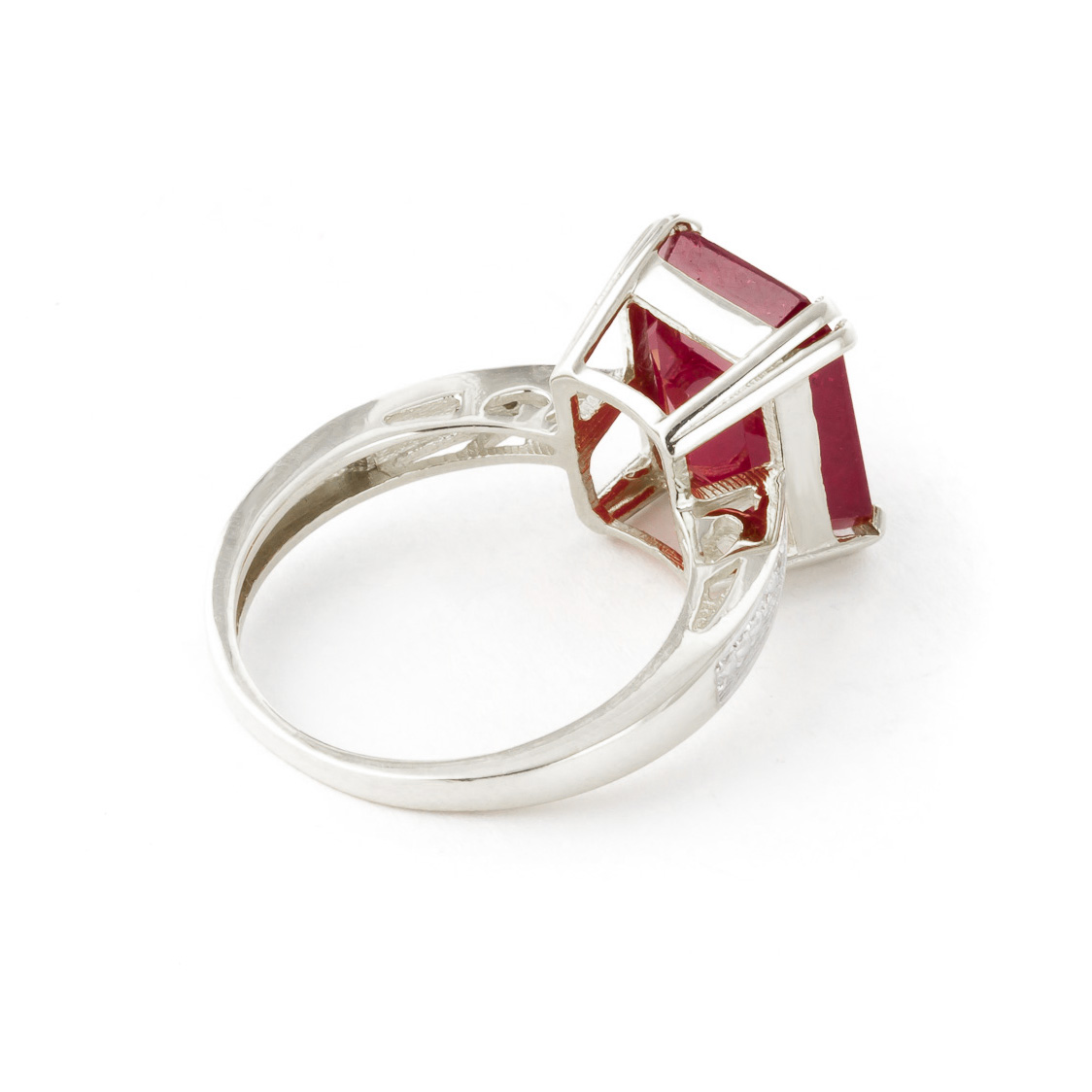 Octagon Cut Ruby Ring 7.27 ctw in 9ct White Gold
