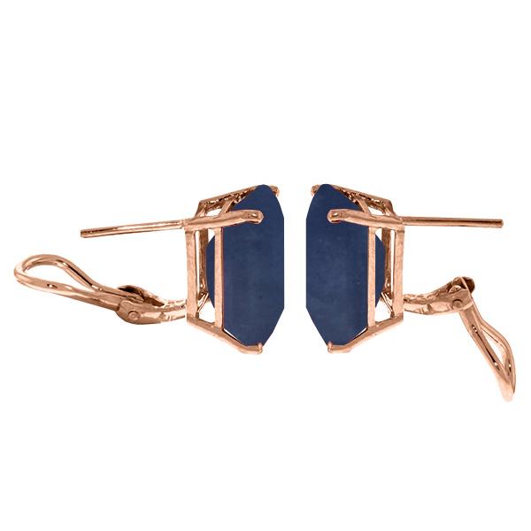 Octagon Cut Sapphire Earrings 14 ctw in 9ct Rose Gold