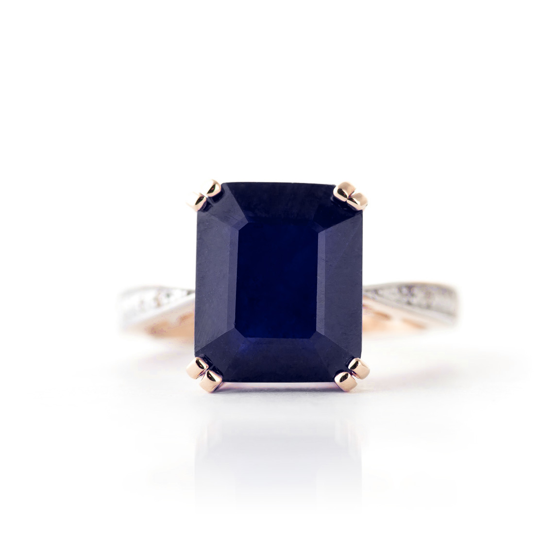 Octagon Cut Sapphire Ring 7.27 ctw in 9ct Rose Gold