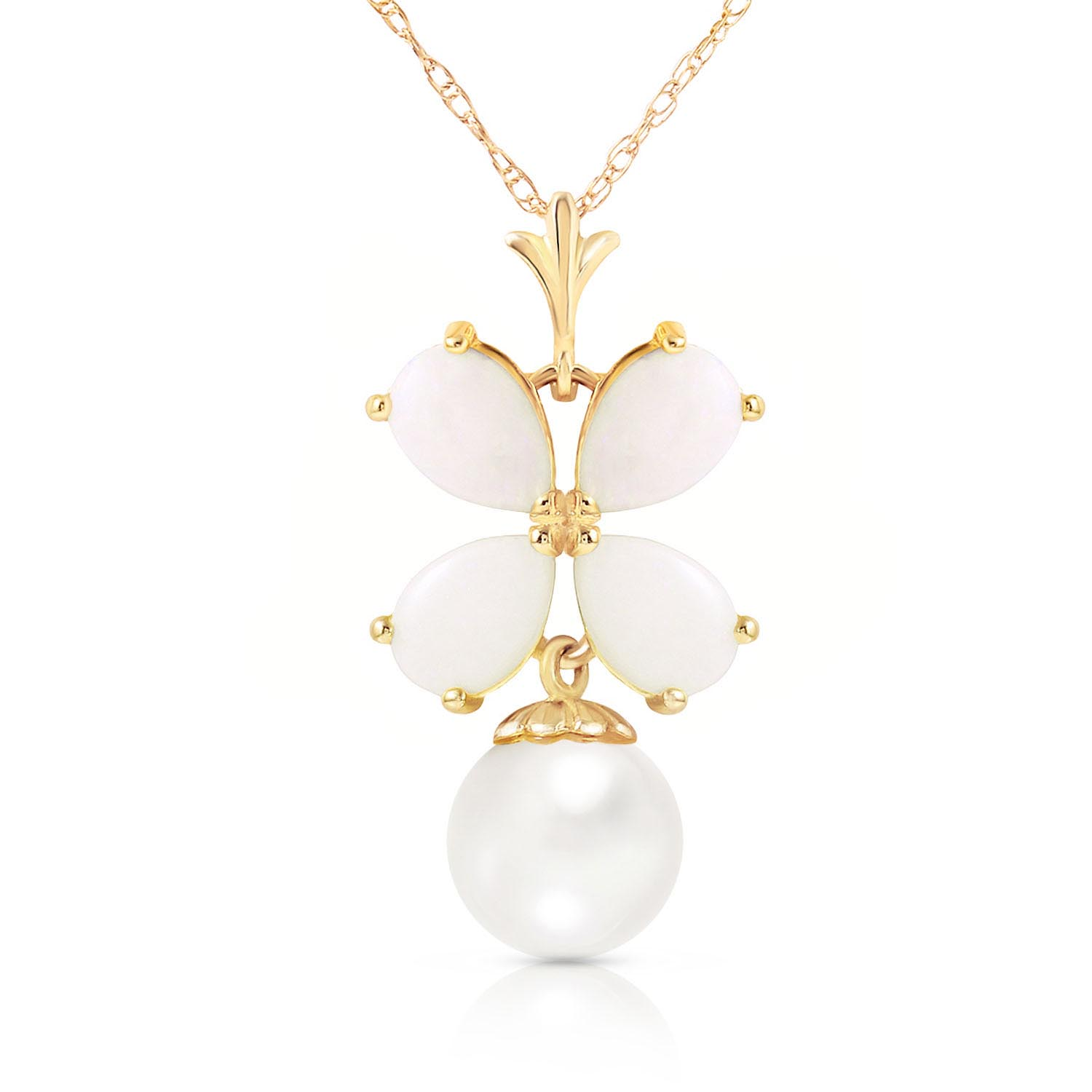 Opal & Pearl Blossom Pendant Necklace in 9ct Gold