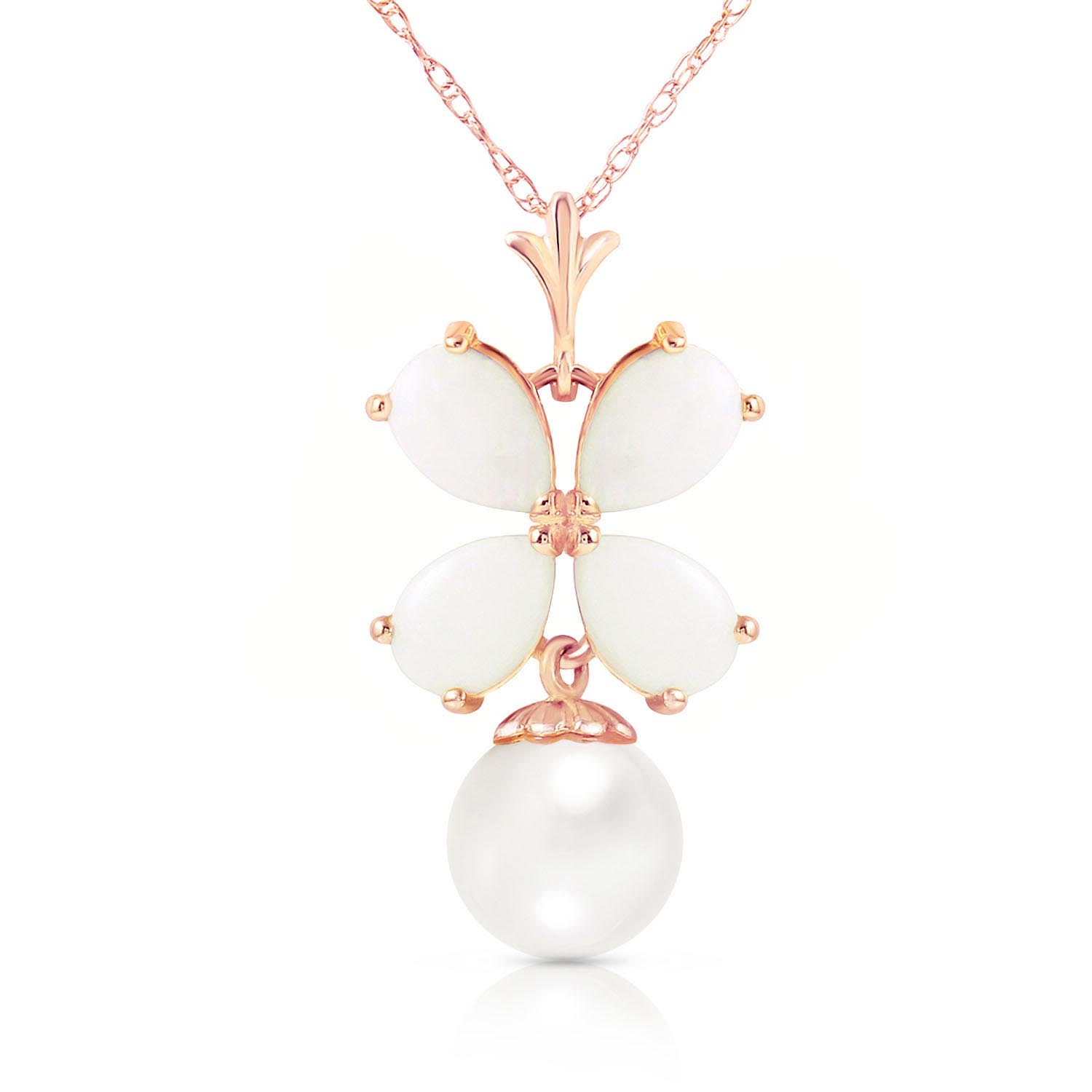 Opal & Pearl Blossom Pendant Necklace in 9ct Rose Gold