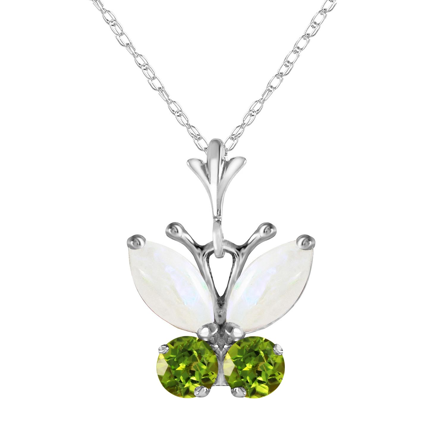 Opal & Peridot Butterfly Pendant Necklace in 9ct White Gold