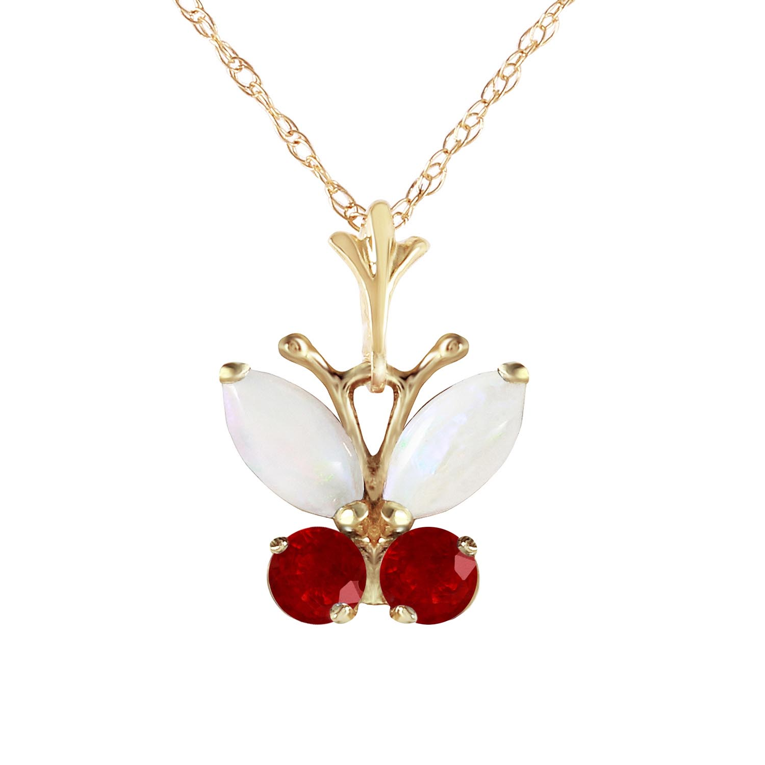 Opal & Ruby Butterfly Pendant Necklace in 9ct Gold