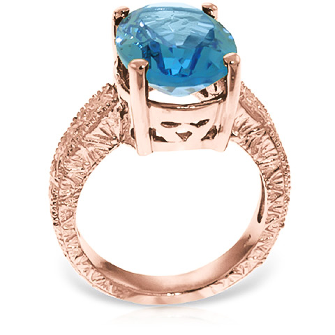 Oval Cut Blue Topaz Ring 8 ct in 9ct Rose Gold