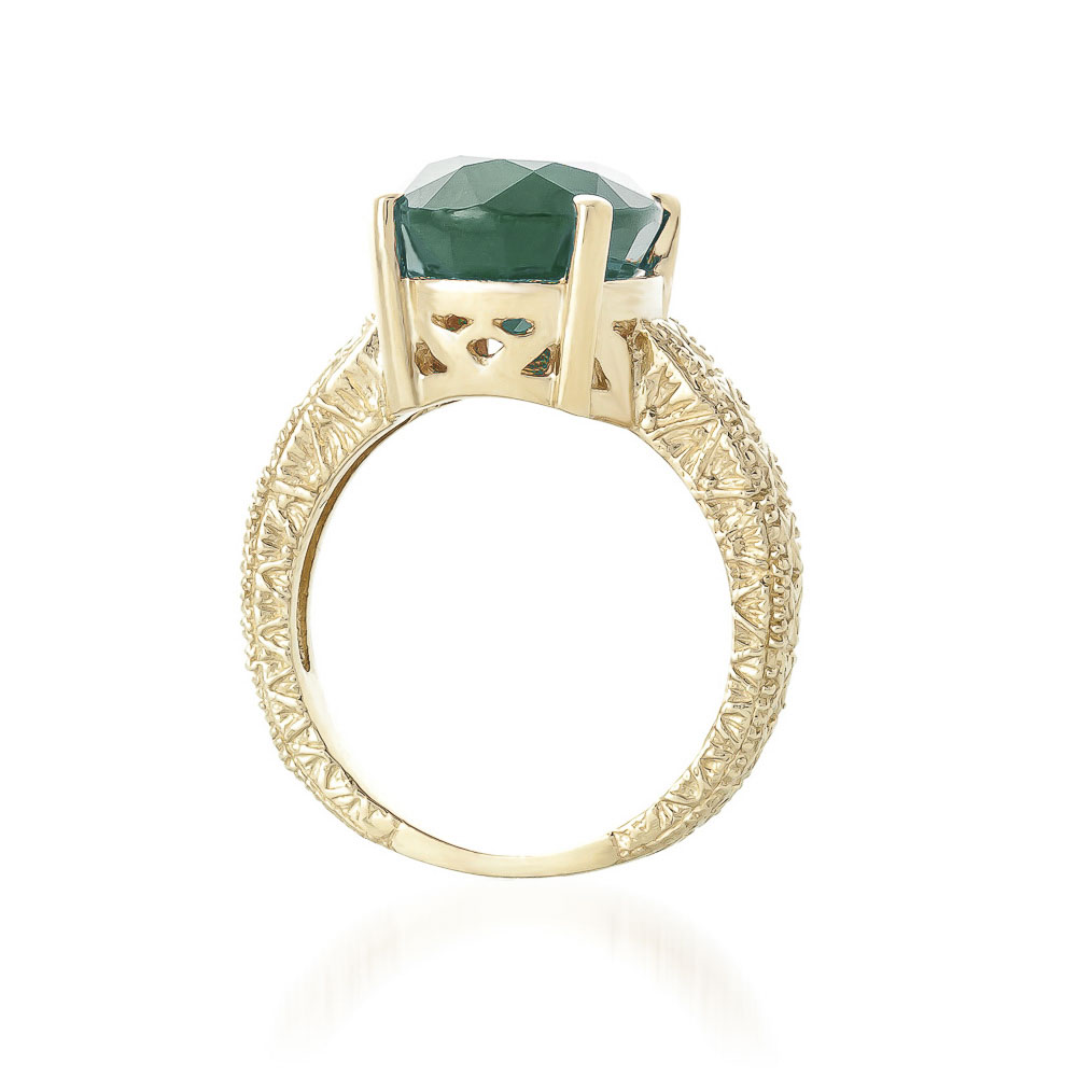 Oval Cut Emerald Ring 6.5 ct in 9ct Gold