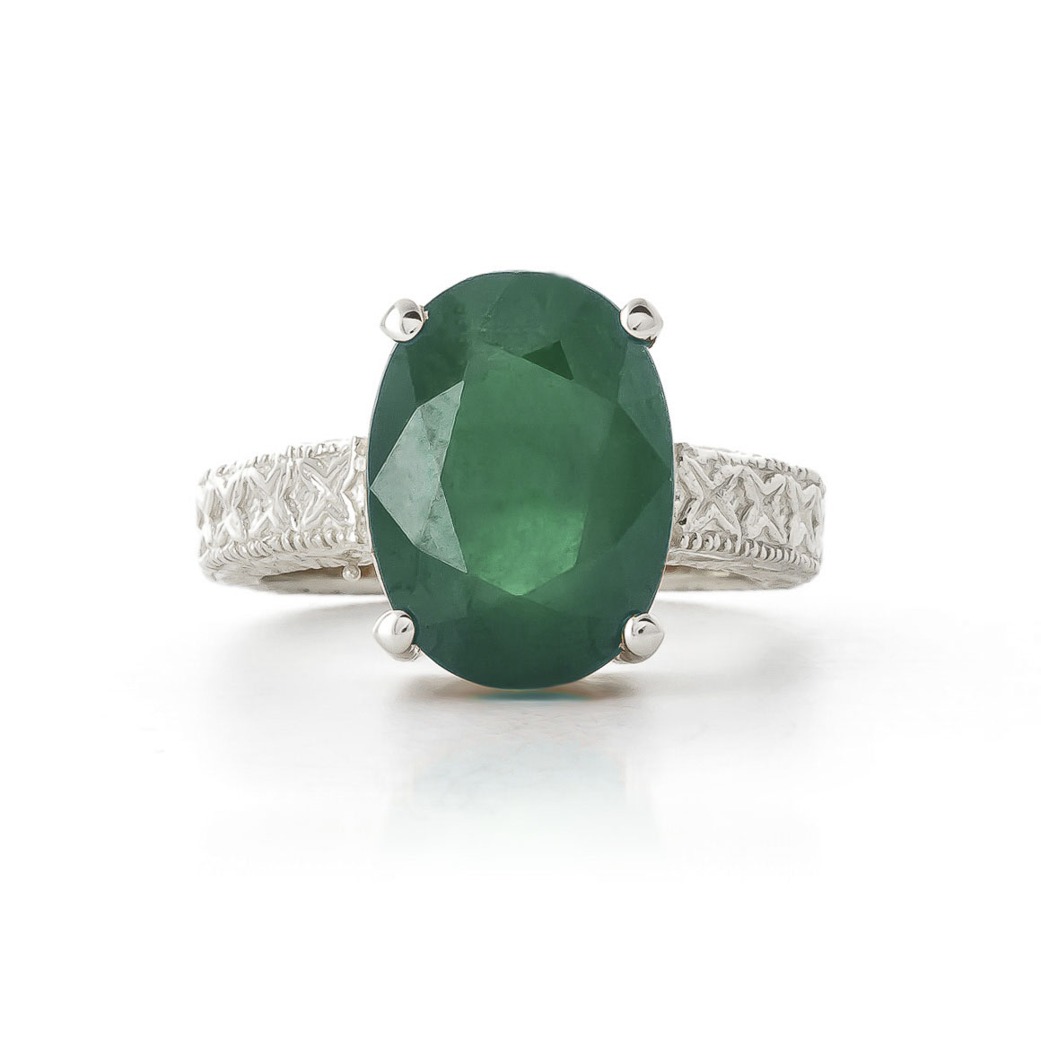 Oval Cut Emerald Ring 6.5 ct in 9ct White Gold