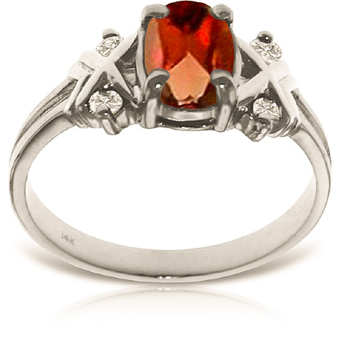 Oval Cut Garnet Ring 0.97 ctw in Sterling Silver