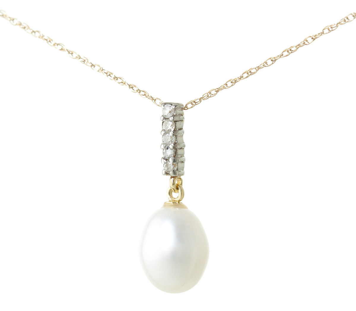 Oval Cut Pearl Pendant Necklace 4.08 ctw in 9ct Gold