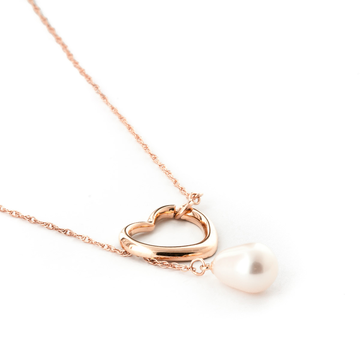 Oval Cut Pearl Pendant Necklace 4 ct in 9ct Rose Gold