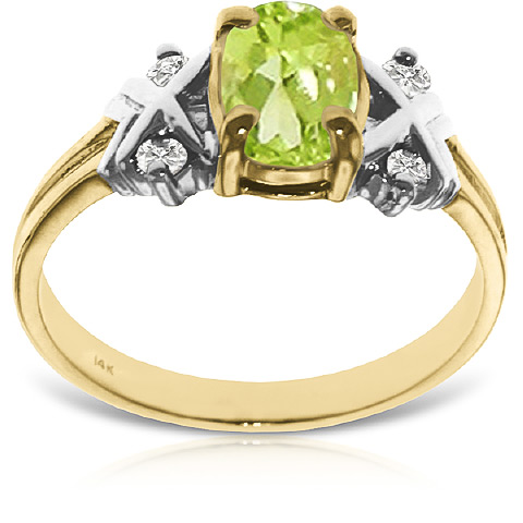 Oval Cut Peridot Ring 0.97 ctw in 9ct Gold