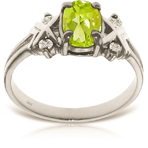 Oval Cut Peridot Ring 0.97 ctw in 9ct White Gold