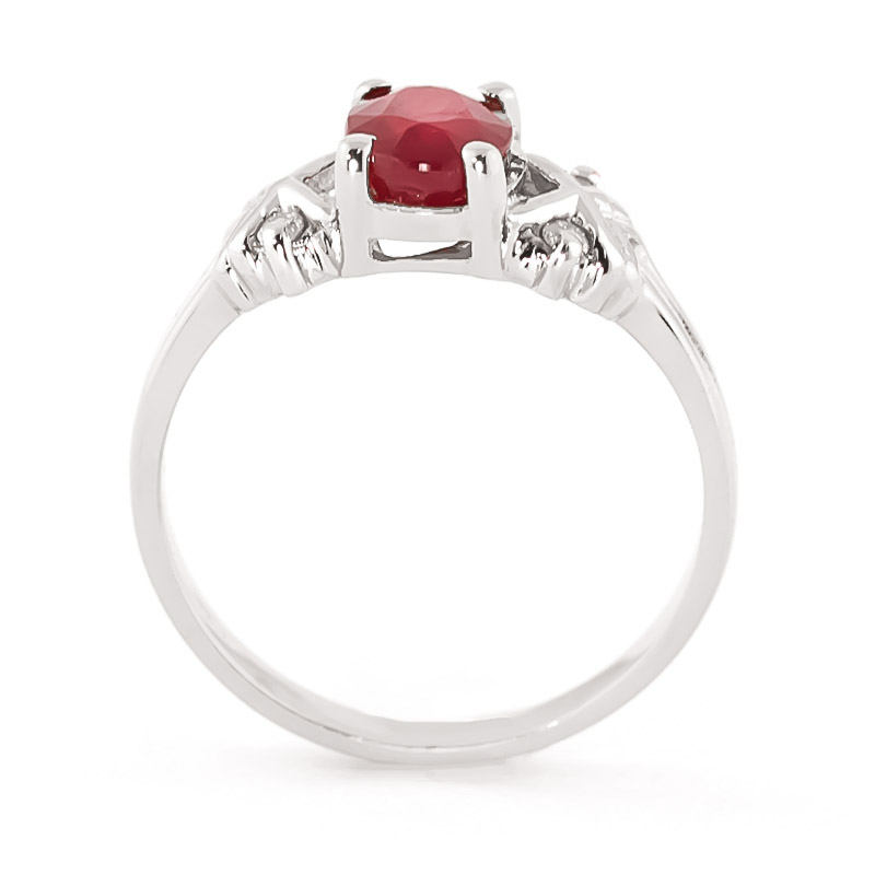 Oval Cut Ruby Ring 1.47 ctw in 9ct White Gold
