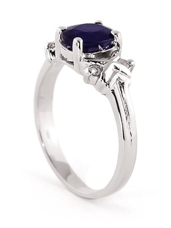 Oval Cut Sapphire Ring 1.47 ctw in Sterling Silver