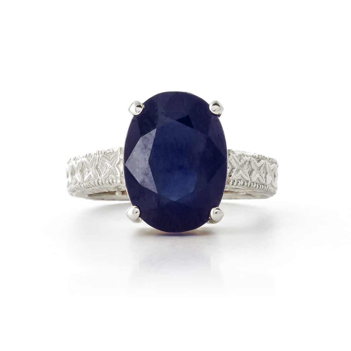 Oval Cut Sapphire Ring 8.5 ct in Sterling Silver