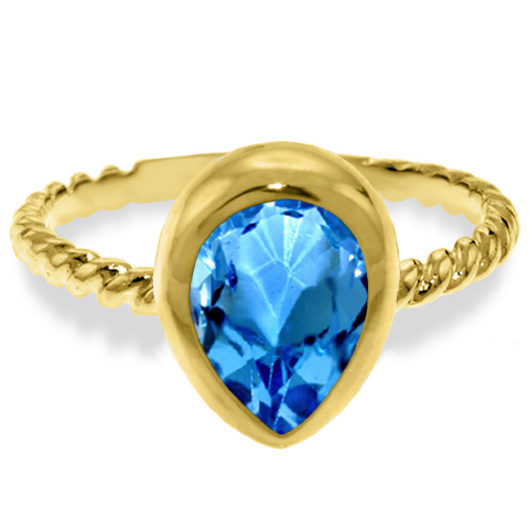 Pear Cut Blue Topaz Ring 4 ct in 9ct Gold