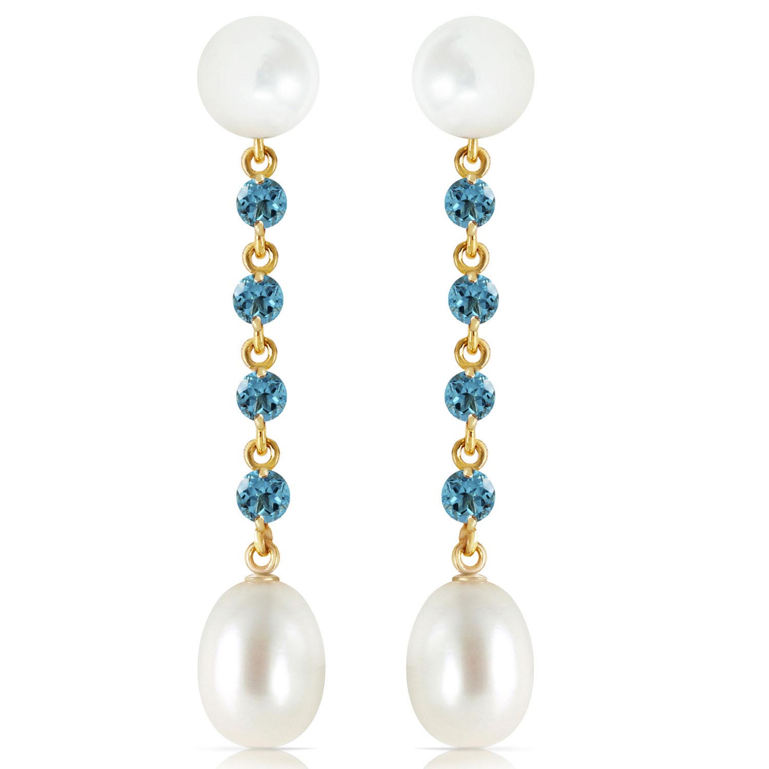 Pearl & Blue Topaz by the Yard Drop Earrings in 9ct Gold