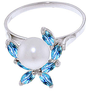 Pearl & Blue Topaz Ivy Ring in 9ct White Gold