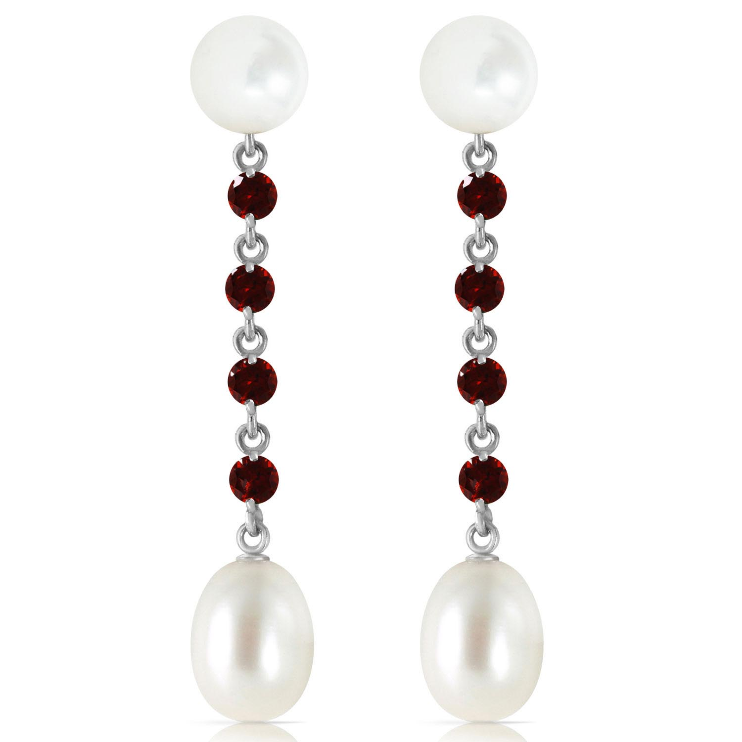 Pearl & Garnet by the Yard Drop Earrings in 9ct White Gold