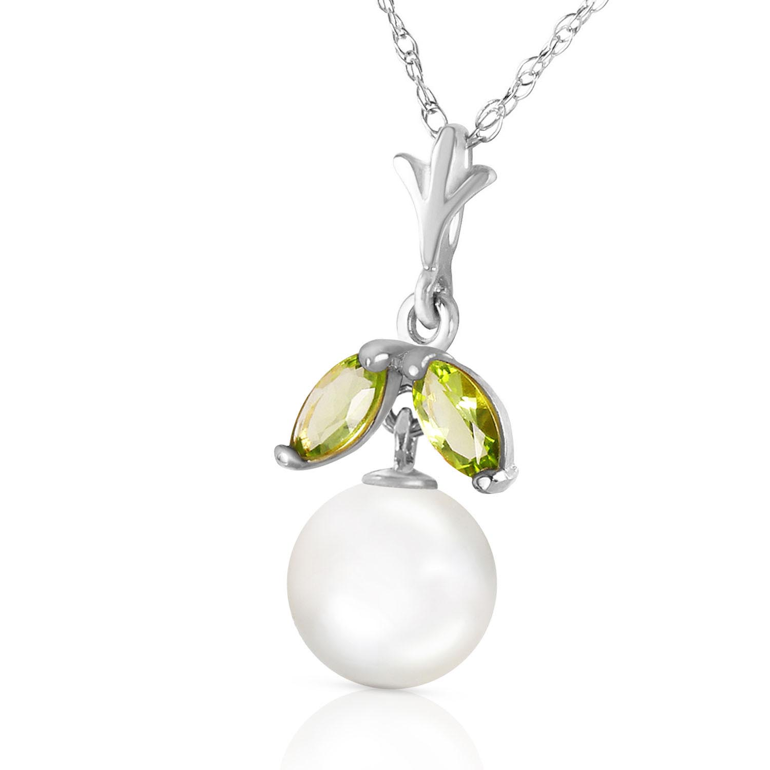 Pearl & Peridot Snowdrop Pendant Necklace in 9ct White Gold