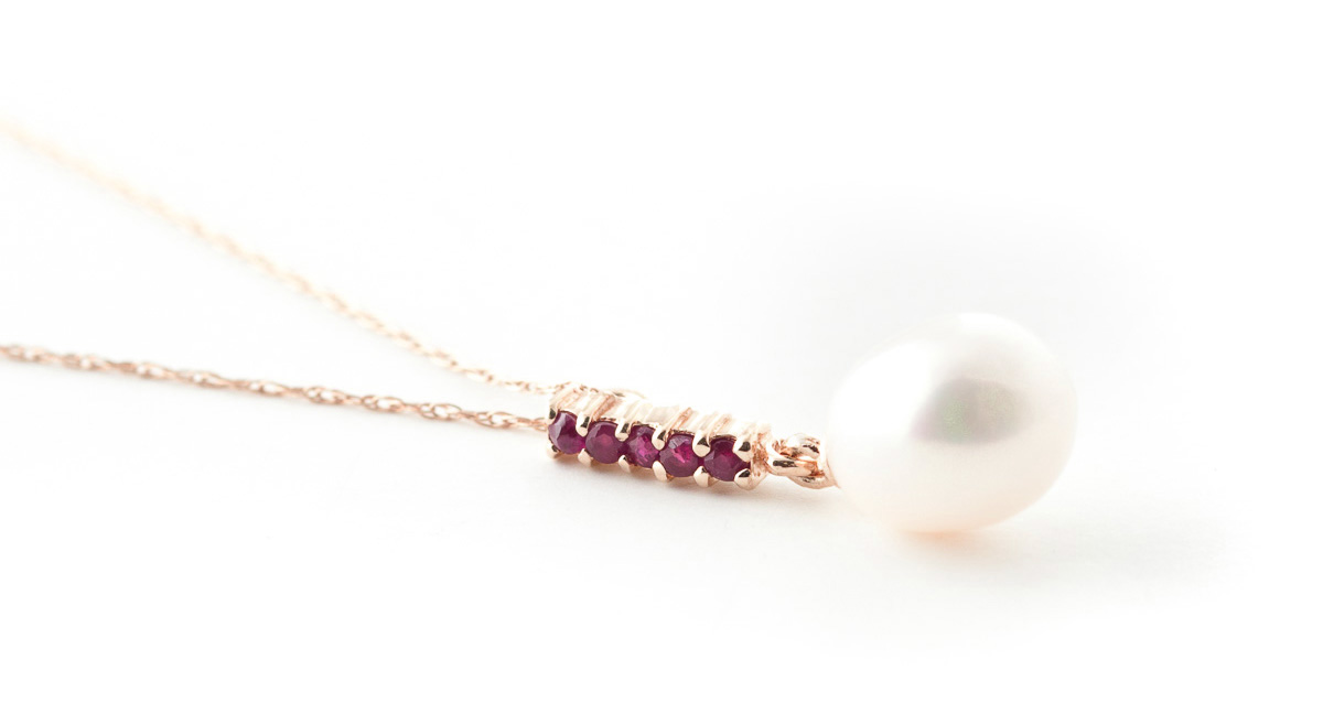 Pearl & Ruby Pendant Necklace in 9ct Rose Gold