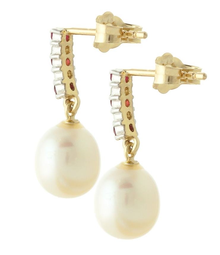 Pearl & Ruby Stud Earrings in 9ct Gold