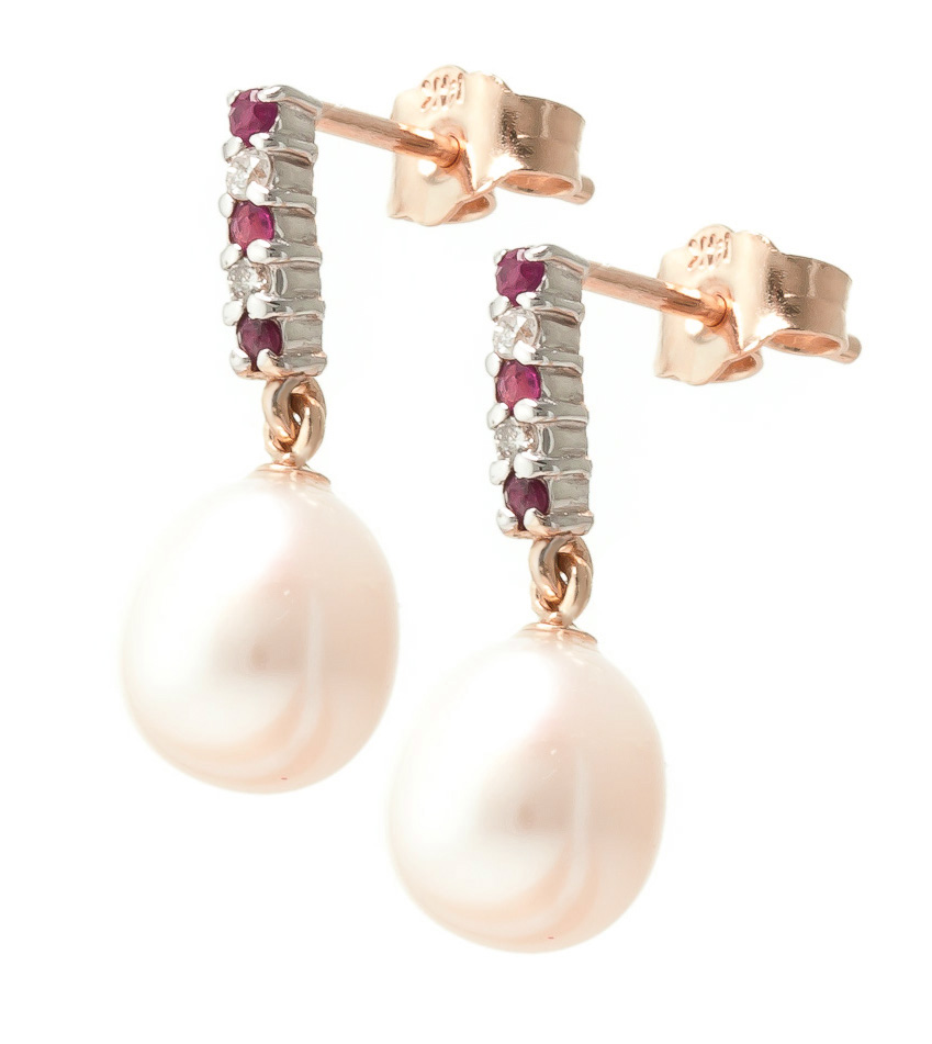 Pearl & Ruby Stud Earrings in 9ct Rose Gold