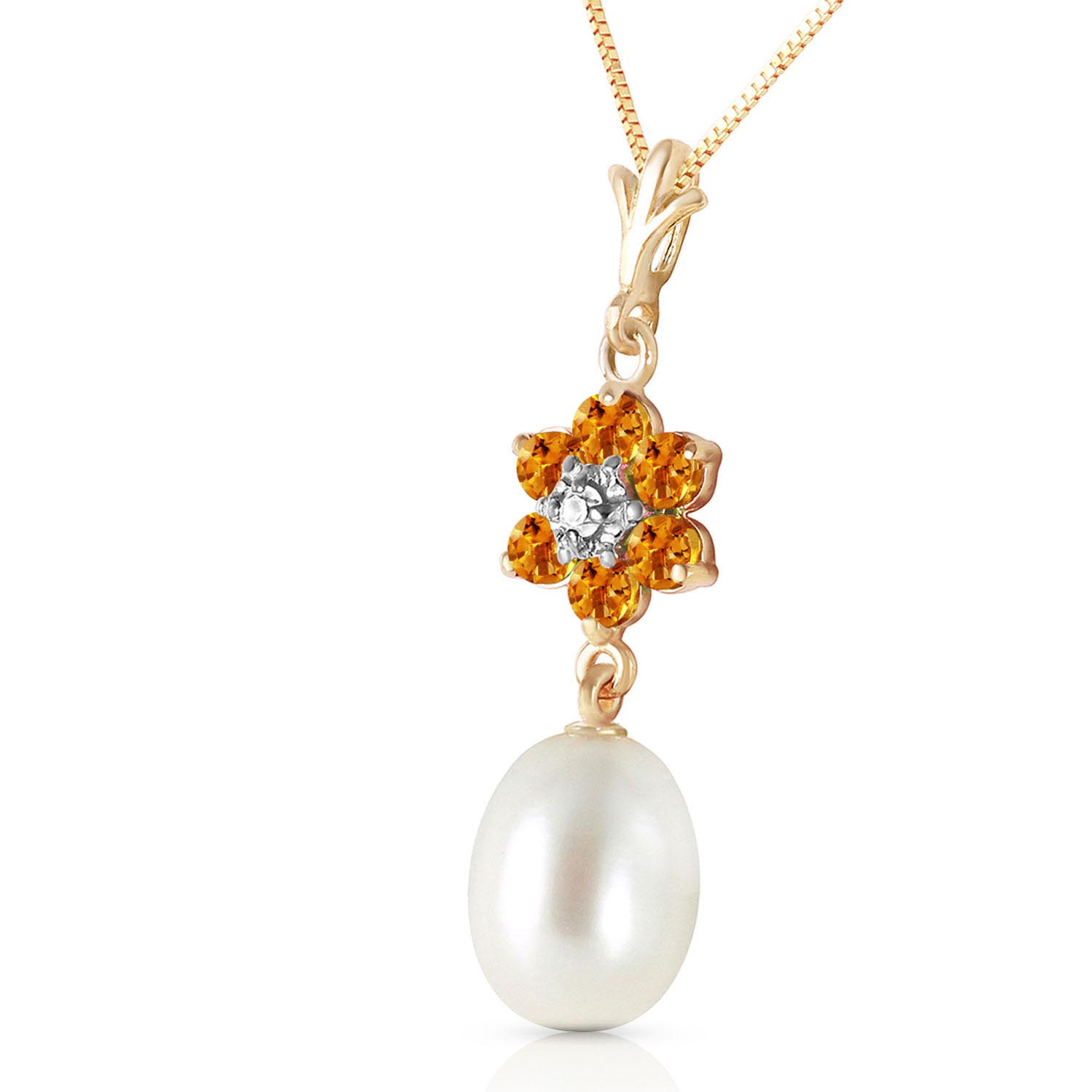 Pearl, Citrine & Diamond Daisy Pendant Necklace in 9ct Gold