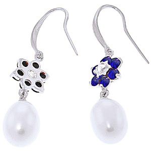 Pearl, Diamond & Sapphire Daisy Chain Drop Earrings in 9ct White Gold