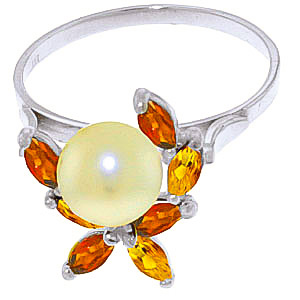Pearl, Garnet & Citrine Ivy Ring in 9ct White Gold
