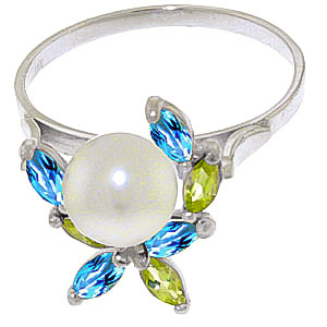Pearl, Peridot & Blue Topaz Ivy Ring in 9ct White Gold