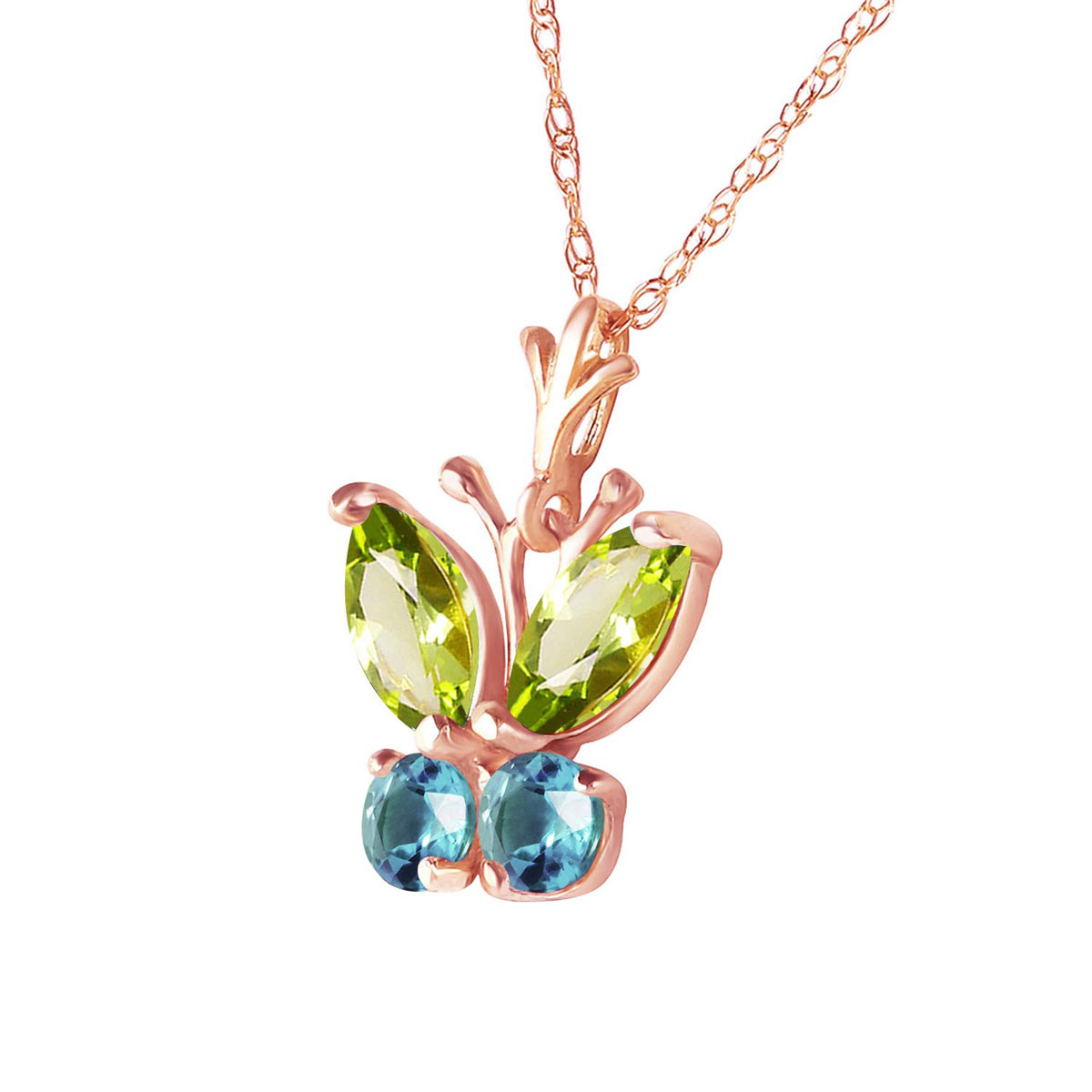 Peridot & Blue Topaz Butterfly Pendant Necklace in 9ct Rose Gold