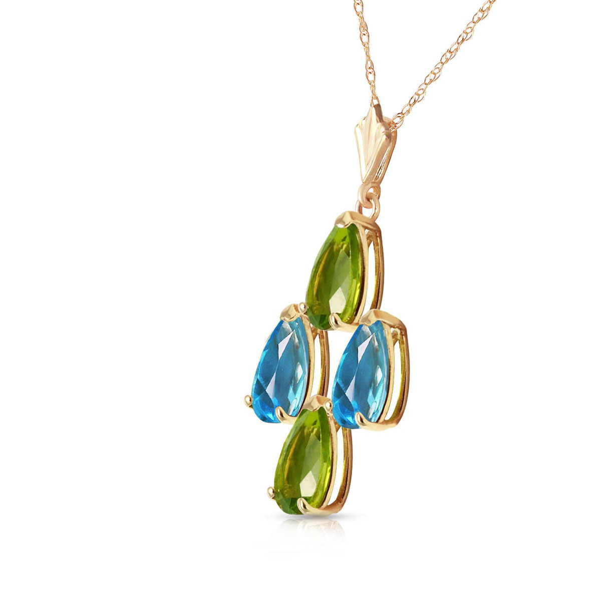 Peridot & Blue Topaz Chandelier Pendant Necklace in 9ct Gold