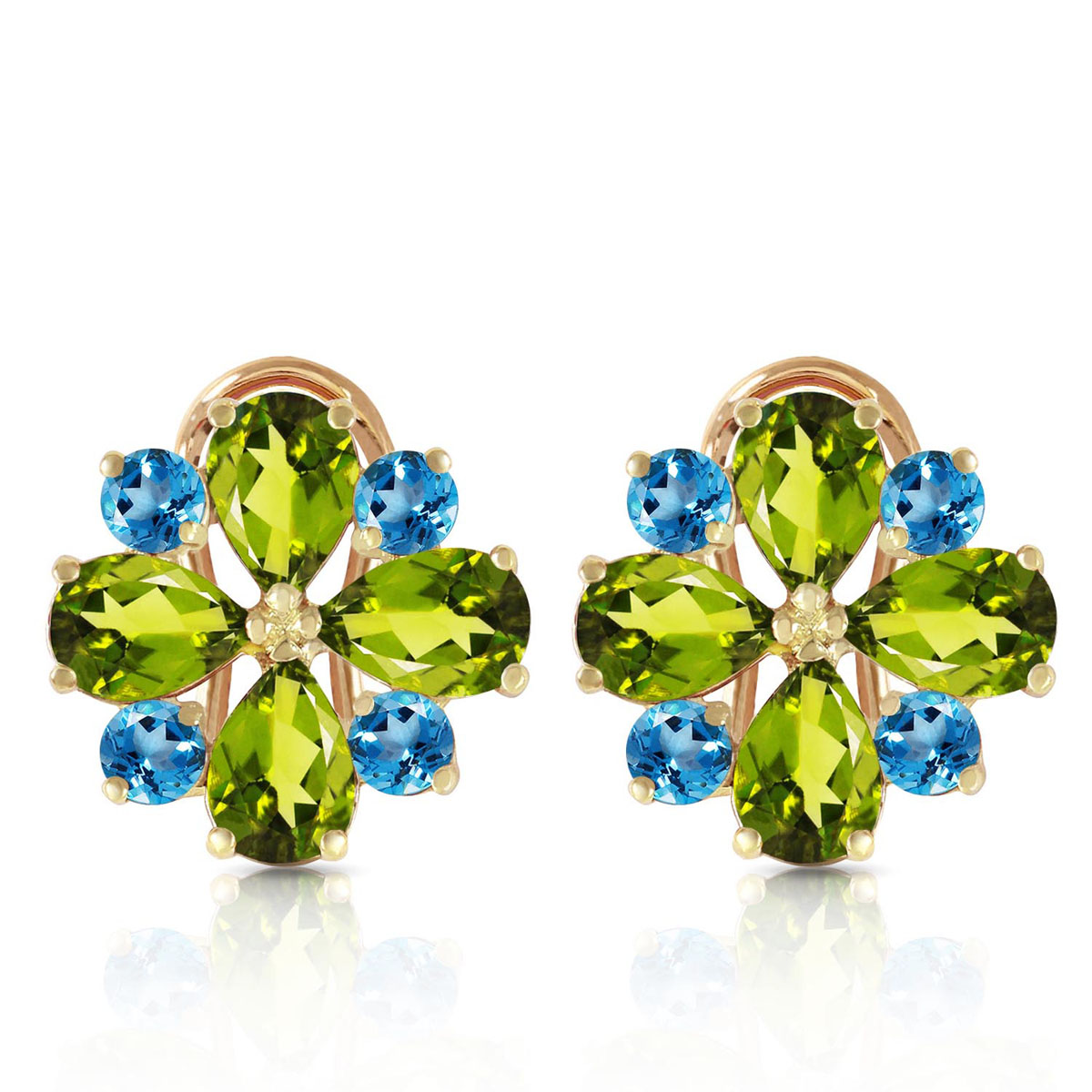 Peridot & Blue Topaz Sunflower Stud French Clip Earrings in 9ct Gold