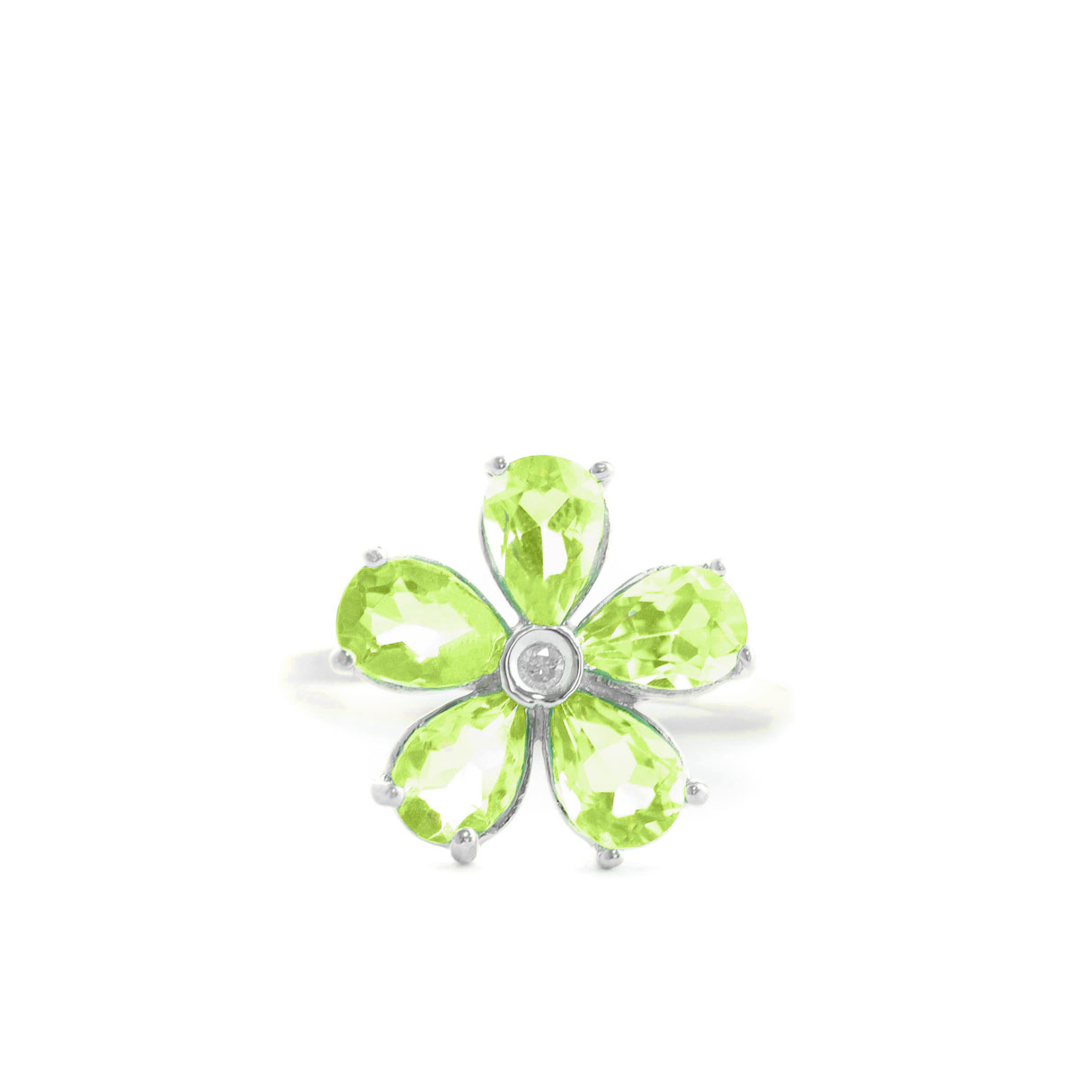Peridot & Diamond Five Petal Ring in 9ct White Gold