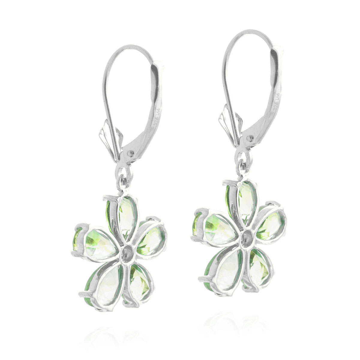 Peridot & Diamond Flower Petal Drop Earrings in 9ct White Gold