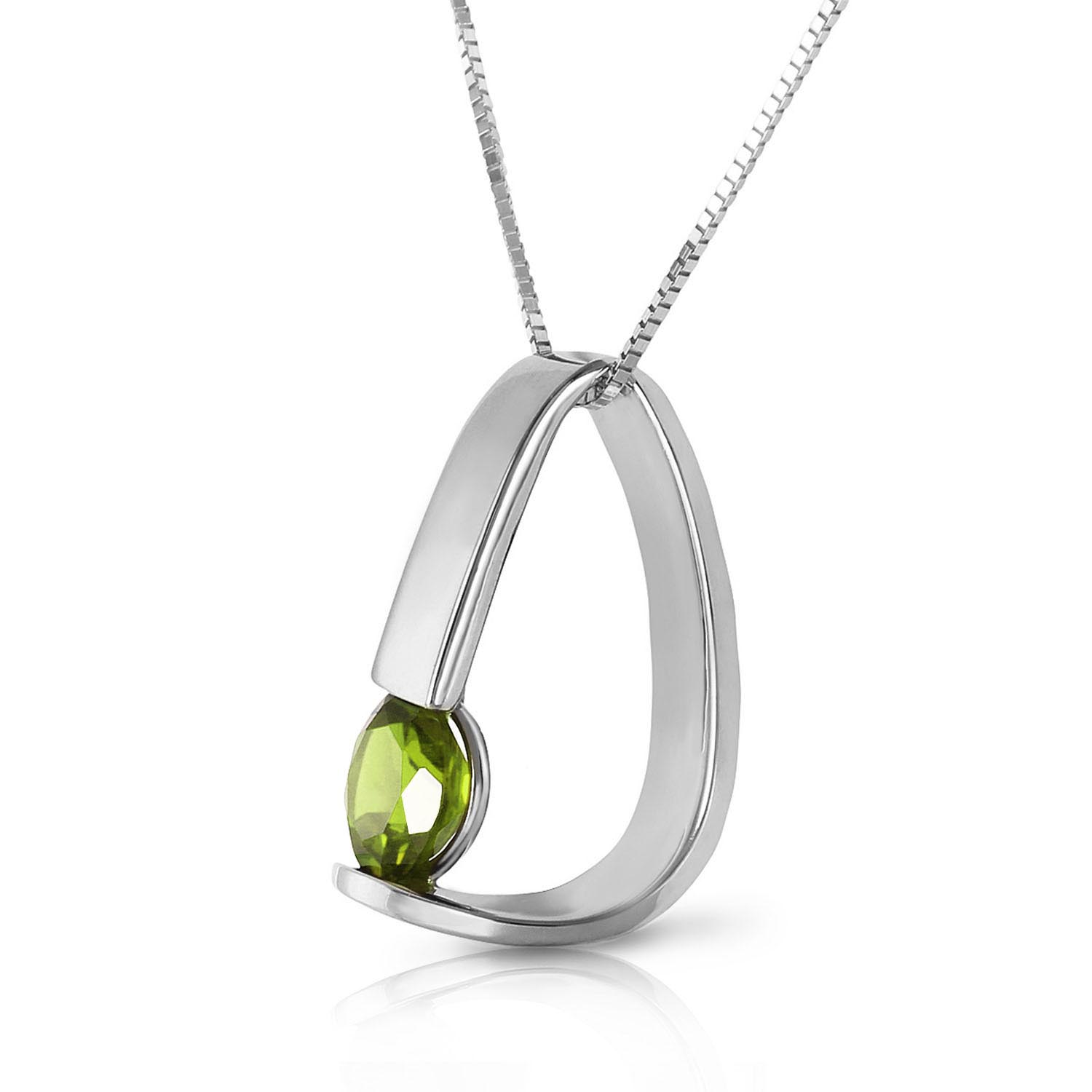 Peridot Arc Pendant Necklace 1 ct in 9ct White Gold