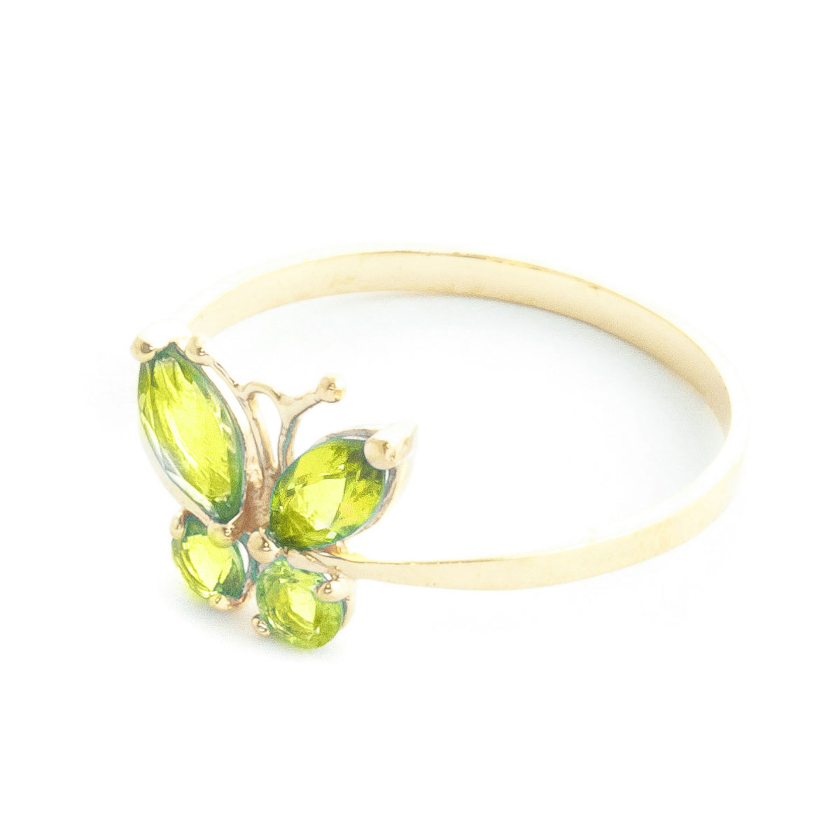 Peridot Butterfly Ring 0.6 ctw in 9ct Gold