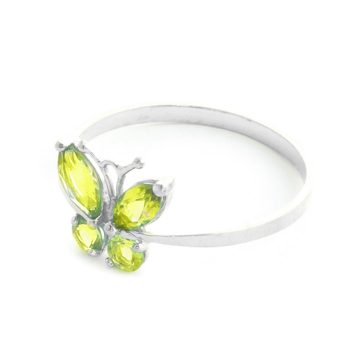 Peridot Butterfly Ring 0.6 ctw in 9ct White Gold