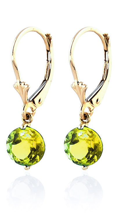 Peridot Drop Earrings 3.1 ctw in 9ct Gold