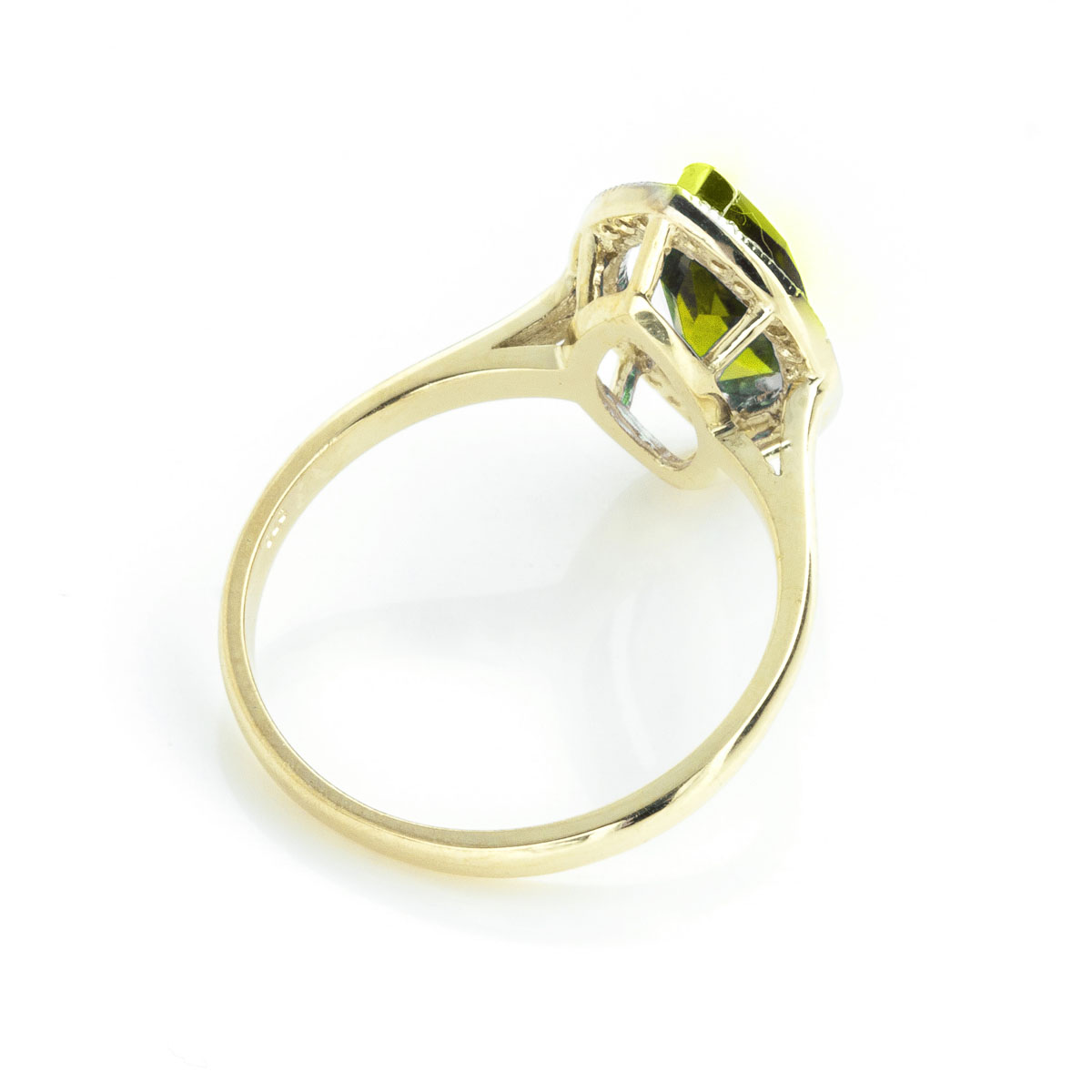 Peridot Halo Ring 2.15 ctw in 9ct Gold