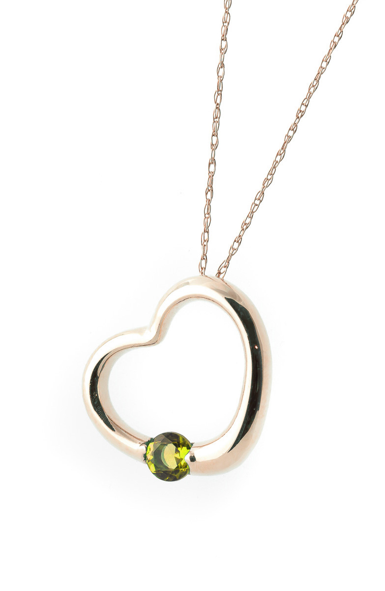 Peridot Heart Pendant Necklace 0.25 ct in 9ct Rose Gold