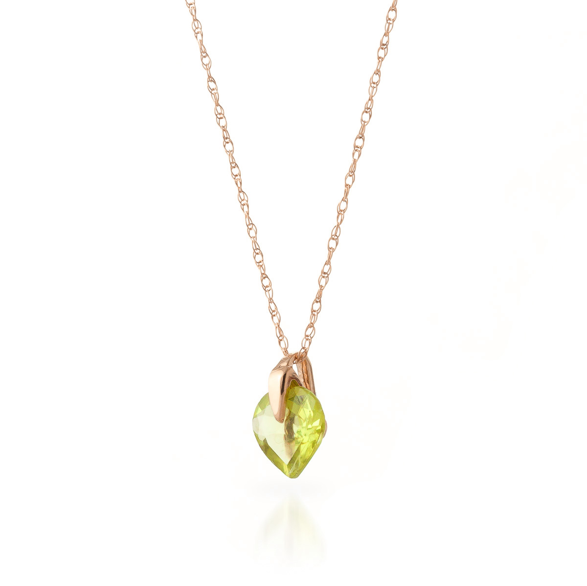 Peridot Heart Pendant Necklace 1.15 ct in 9ct Rose Gold