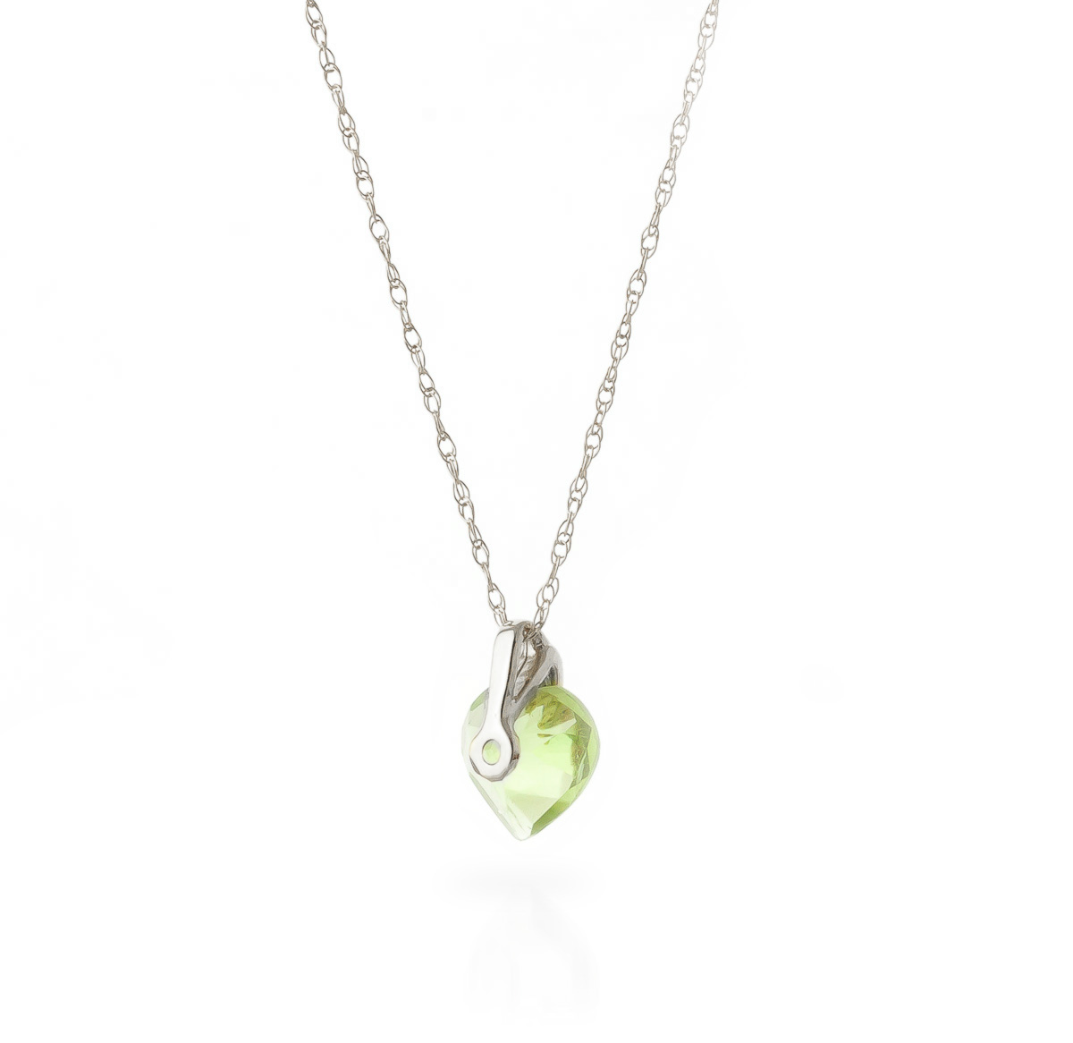 Peridot Heart Pendant Necklace 1.15 ct in 9ct White Gold