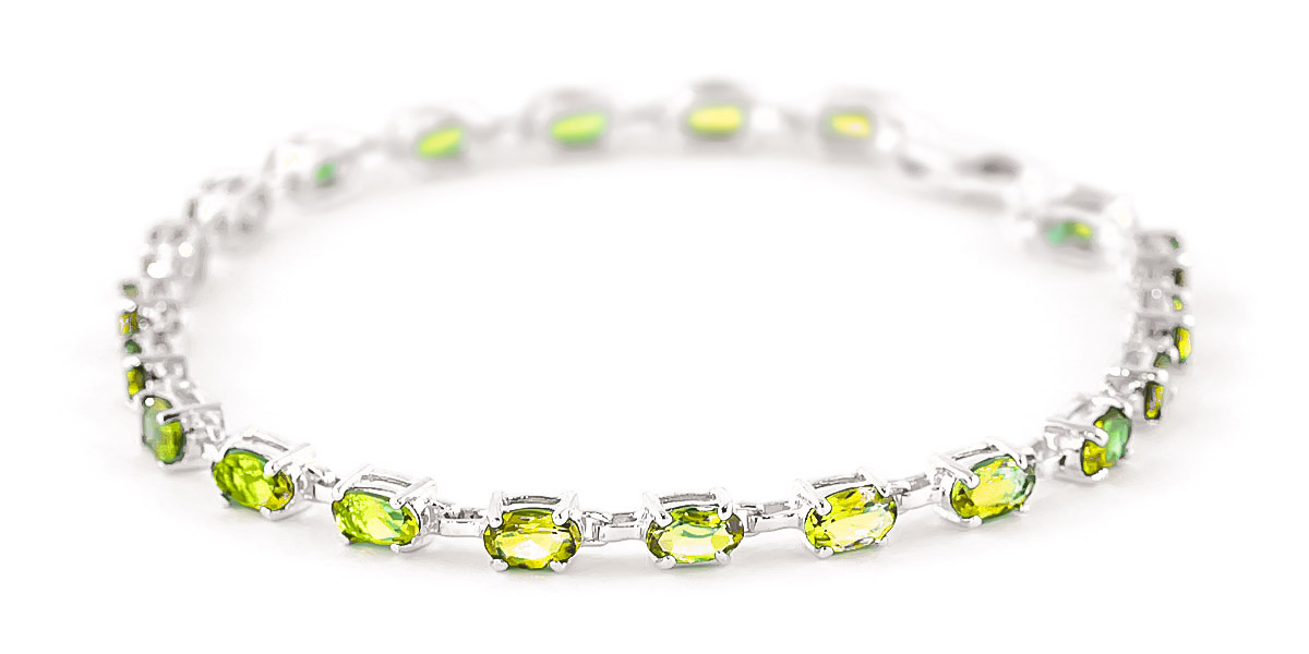 Peridot Infinite Tennis Bracelet 5 Ctw In 9ct White Gold
