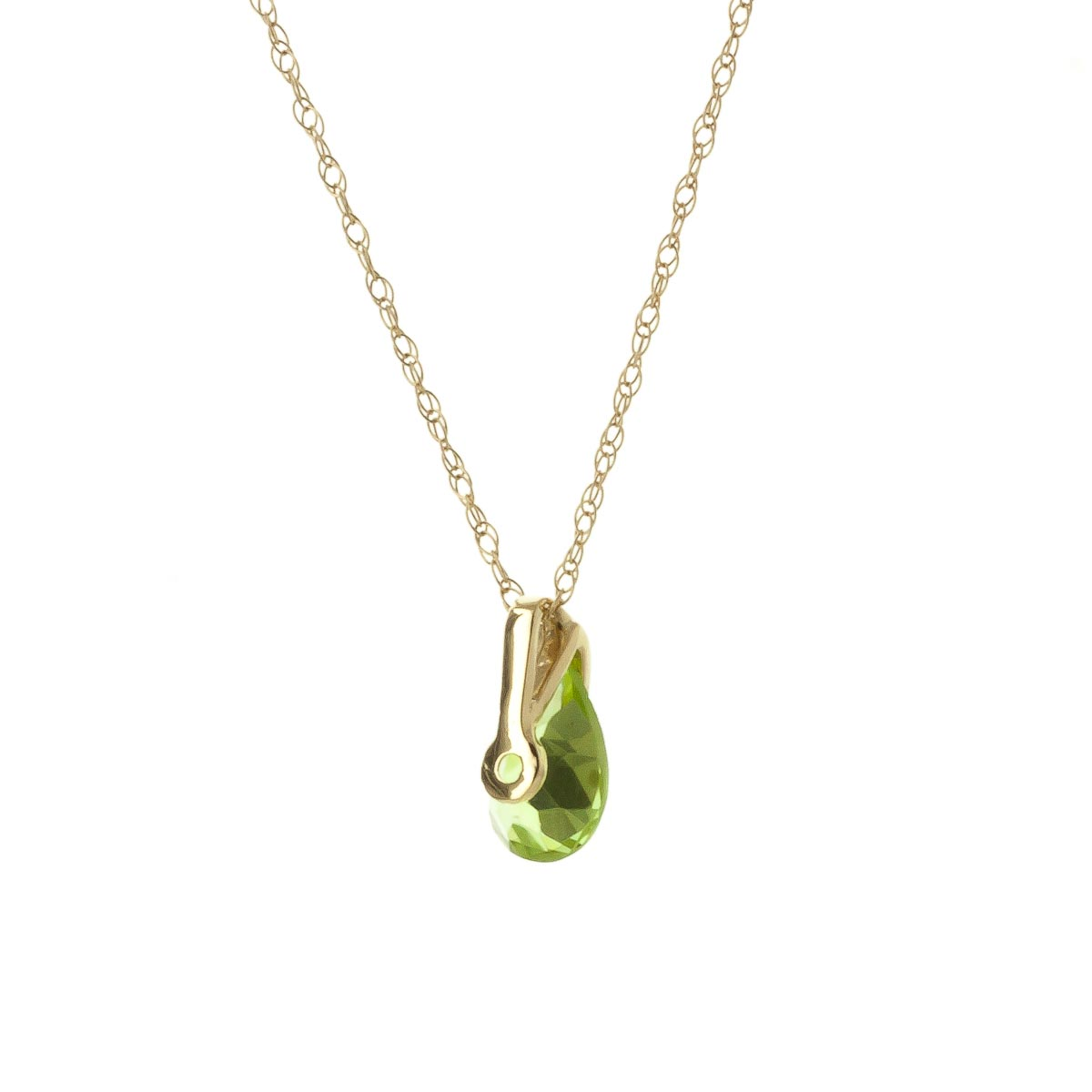 Peridot Pear Drop Pendant Necklace 0.68 ct in 9ct Gold