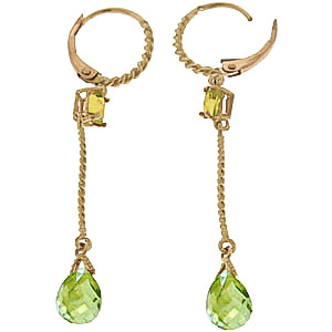 Peridot Twist Drop Earrings 3.5 ctw in 9ct Gold