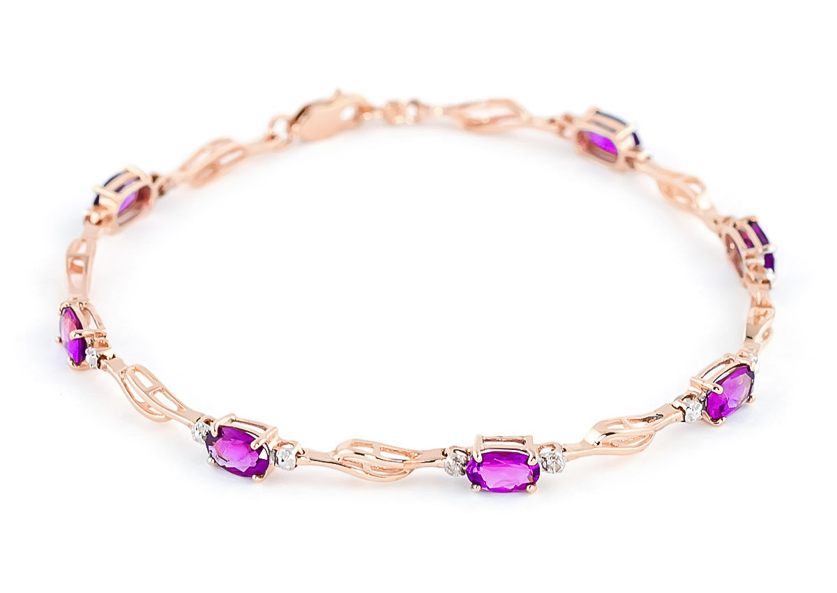 Pink Topaz & Diamond Classic Tennis Bracelet in 9ct Rose Gold