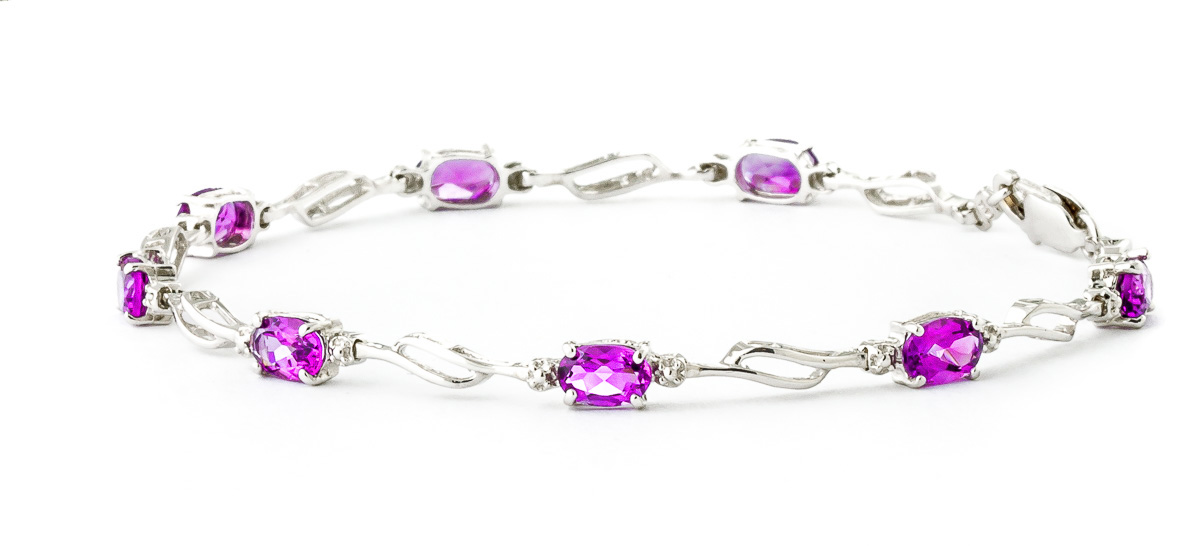 Pink Topaz & Diamond Classic Tennis Bracelet in 9ct White Gold