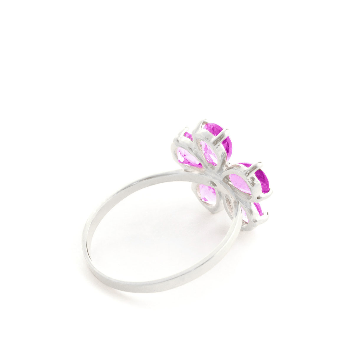 Pink Topaz & Diamond Five Petal Ring in Sterling Silver