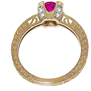 Pink Topaz & Diamond Renaissance Ring in 9ct Gold